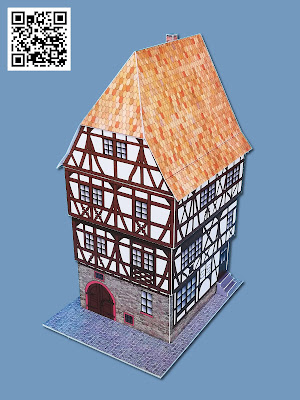 "Kartonmodell im Maßstab 1:120 des Fachwerkhauses ""Schlinkengasse 7"" in Bensheim"