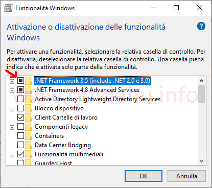 Finestra Funzionalità Windows funzionalità .NET Framework 3.5
