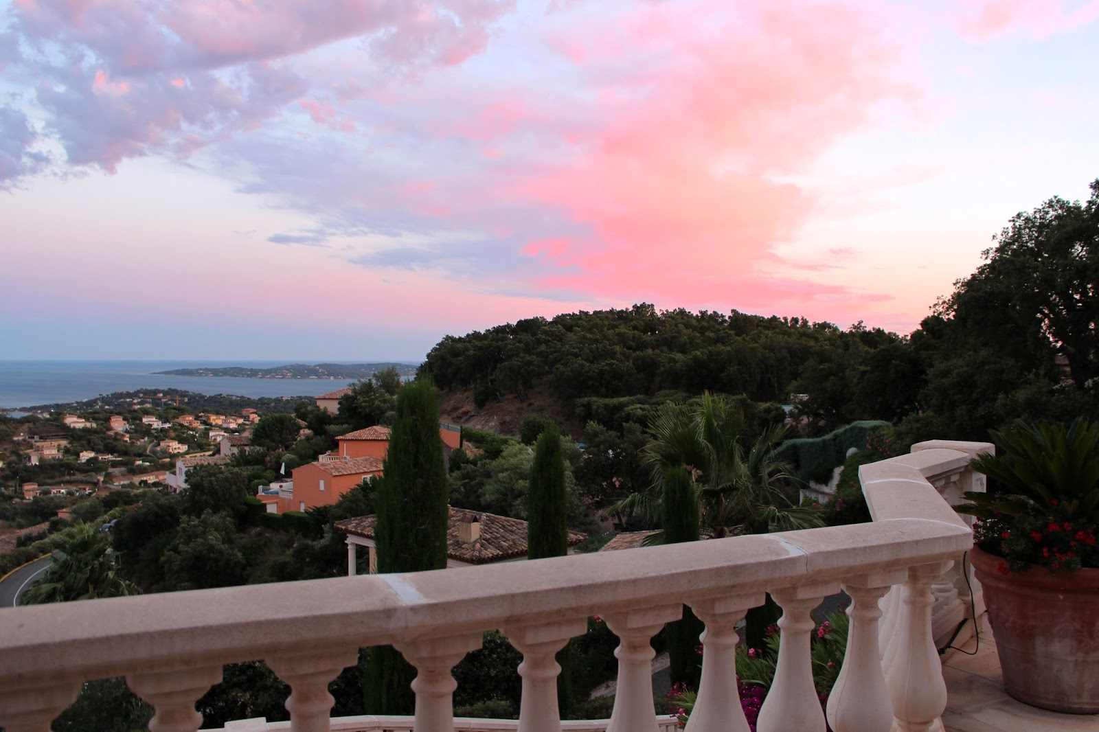 Beautiful red sky over saint maxime south of france
