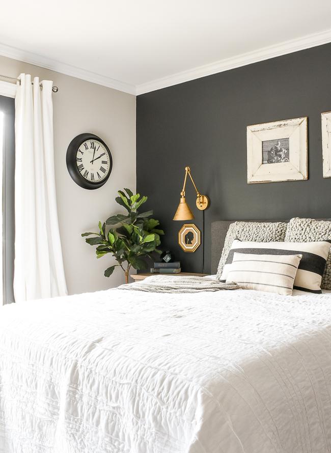 High contrast modern farmhouse bedroom
