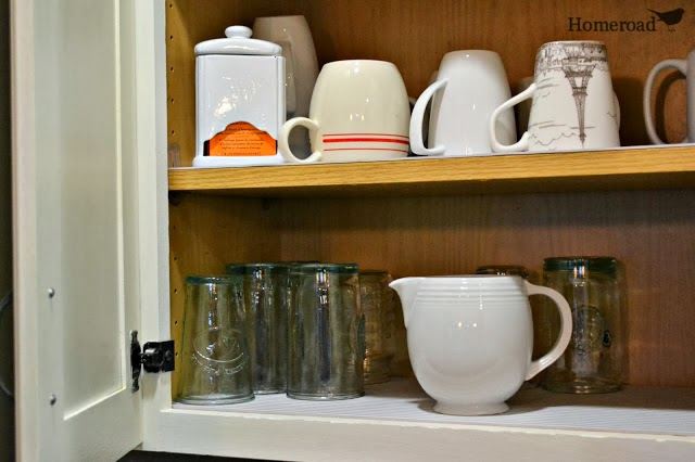 cabinet with mugs and glasses