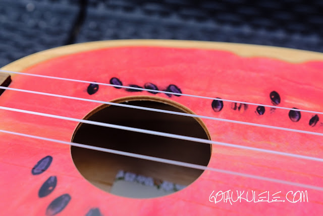 Kala Novely Watermelon Soprano Ukulele sound board