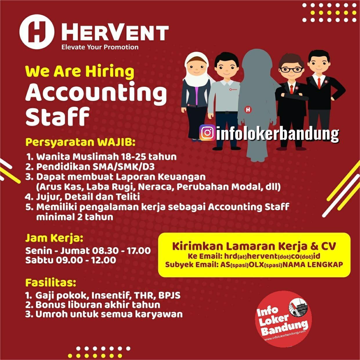 Lowongan Kerja Accounting Staff Hervent Bandung Januari 2020