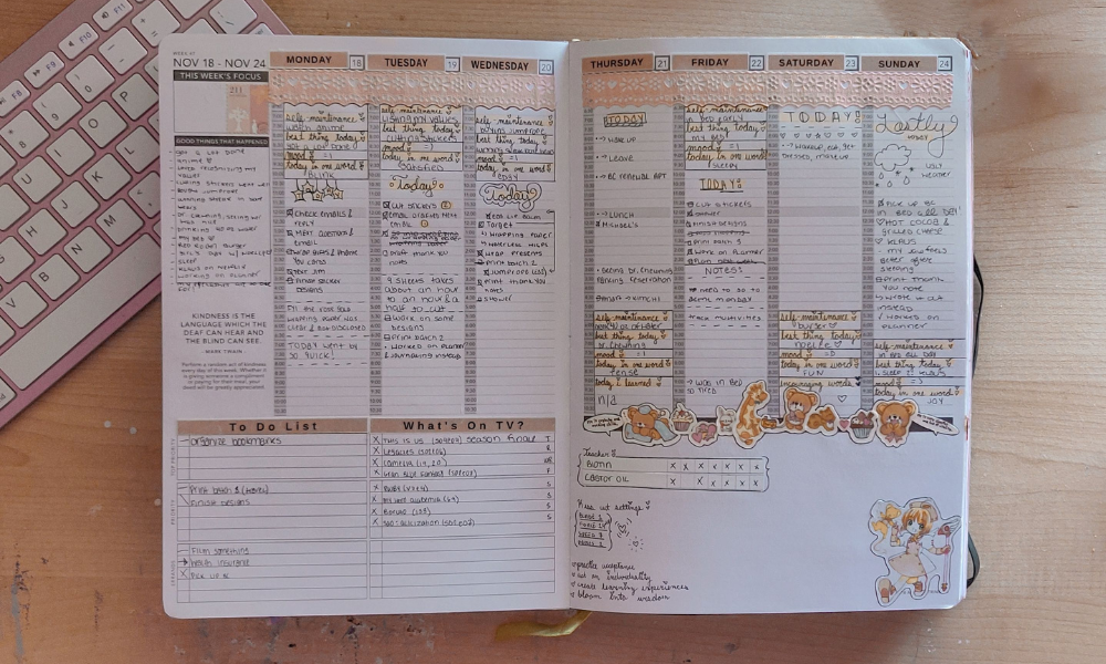 Passion Planner weekly section where i changed the tabs to to-do list and what's on tv