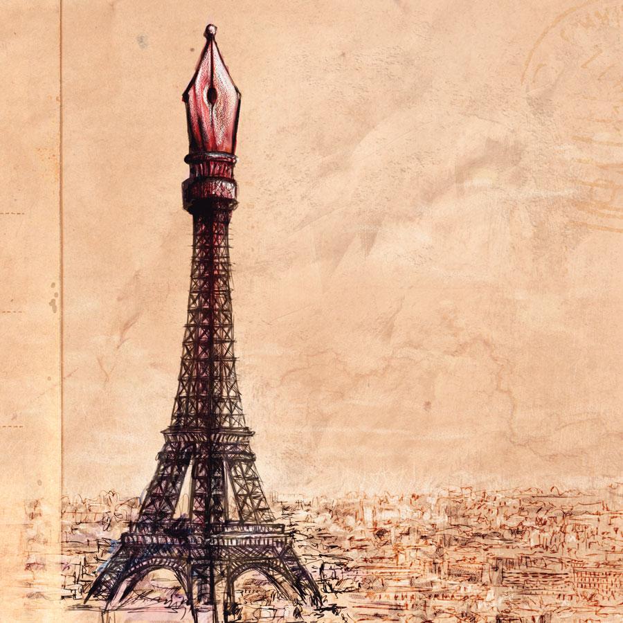 Ilustración y diseño de portada para el libro Cuaderno de París por Hache Holguín