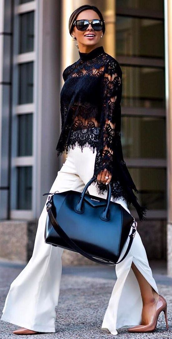 amazing black and white outfit idea: lacer top + pants + bag