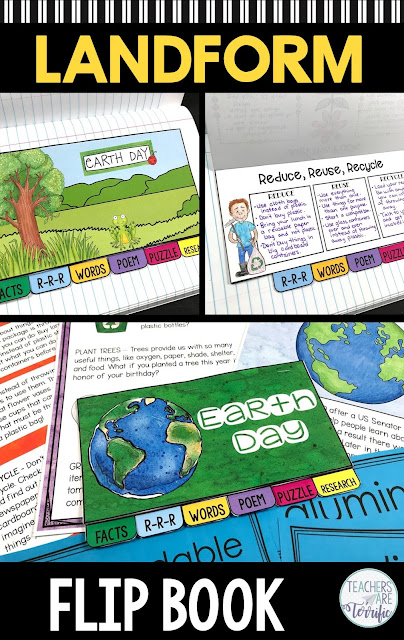 Kids love these tiny booklets!  In this Little Flipper students fill in information about Earth Day, write about ways to reduce, recycle, or reuse, write a poem about Earth Day, match vocabulary words, and complete a puzzle. The resource includes color and black/white versions! #elementary #earthday