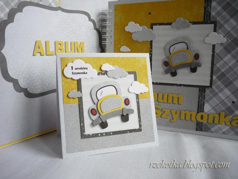 album na zdjęcia wraz z kartką i pudełkiem