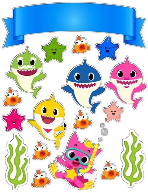 Baby Shark Bajo el Mar: Toppers para Tartas, Bizcochos o Pasteles para Imprimir Gratis.