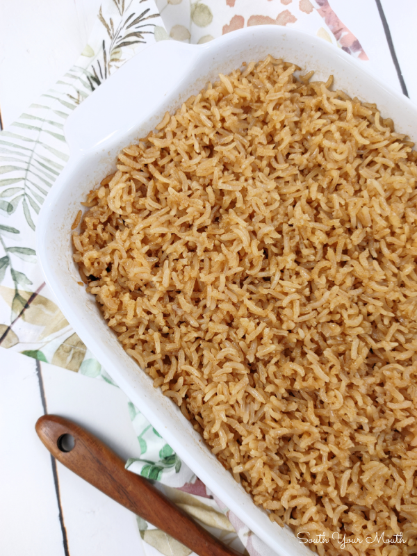 Mama's Brown Rice (Not the Healthy Kind, the Beefy, Buttery Kind!) Rice browned in butter then baked in beef consommé for an absolutely perfectly cooked recipe easy enough for weeknight meals and special enough for holiday dinners!