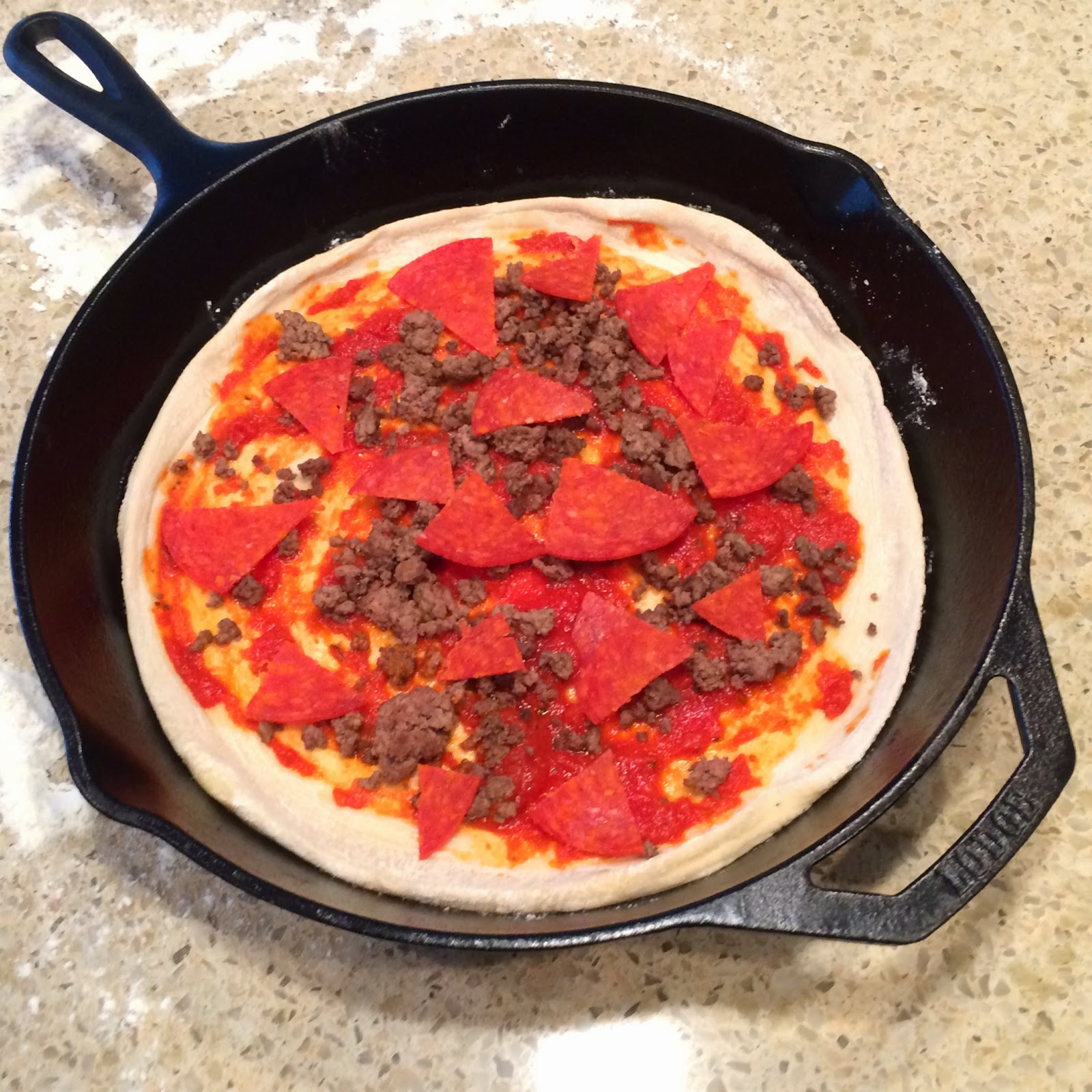 Big Green Egg Cast Iron Skillet Pizza.  Grilled pizza is the best! | The Lowcountry Lady