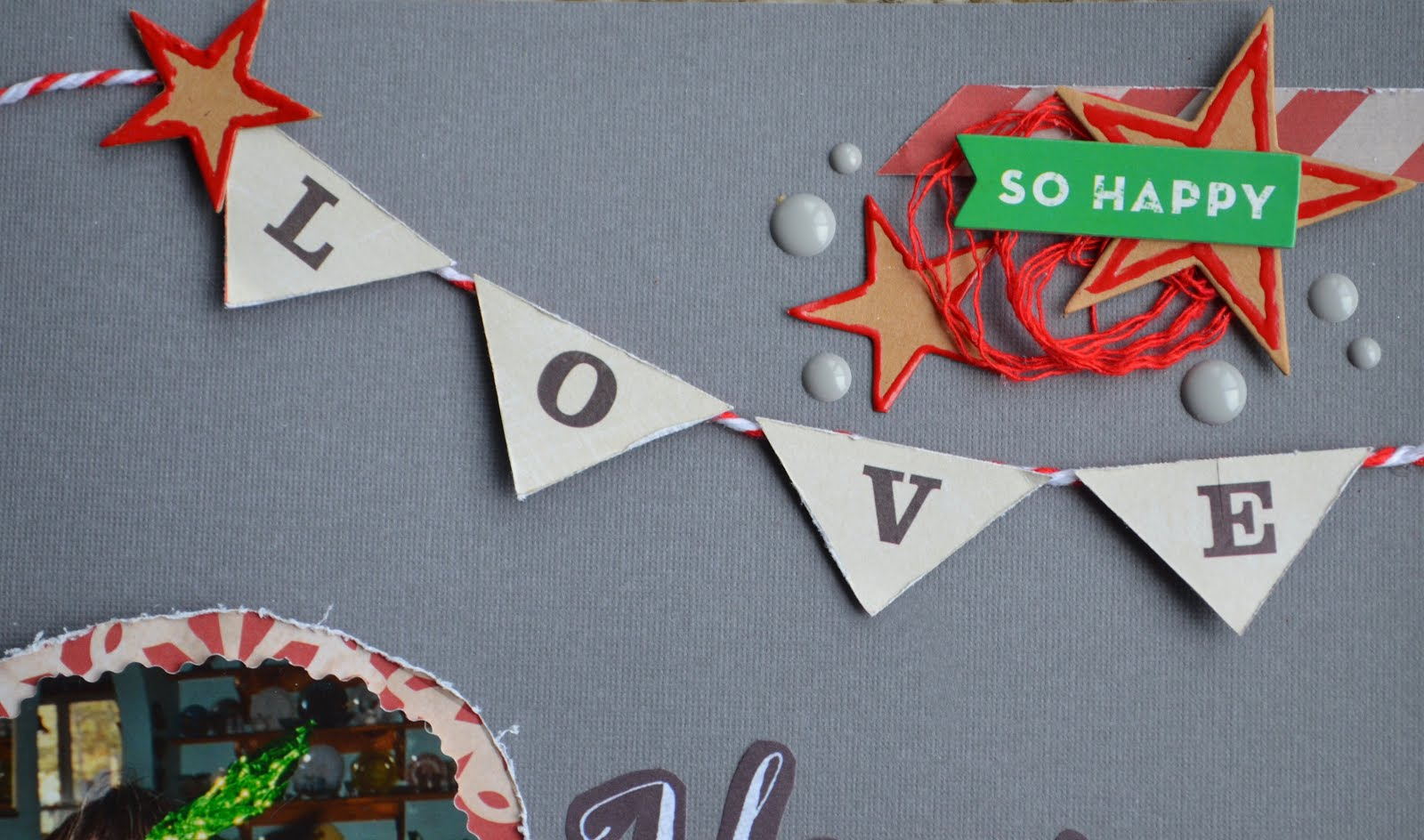 "Christmas holiday scrapbook layout page for Scrap Our Stash Sketch Challenge. Gray, beige, black, white, red, and kraft, with chipboard, banner, ""gingerbread"" stars, polka dots, and buttons"