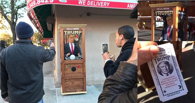 Muñecos parlantes ridiculizando a Trump inundan vecindarios de Nueva York