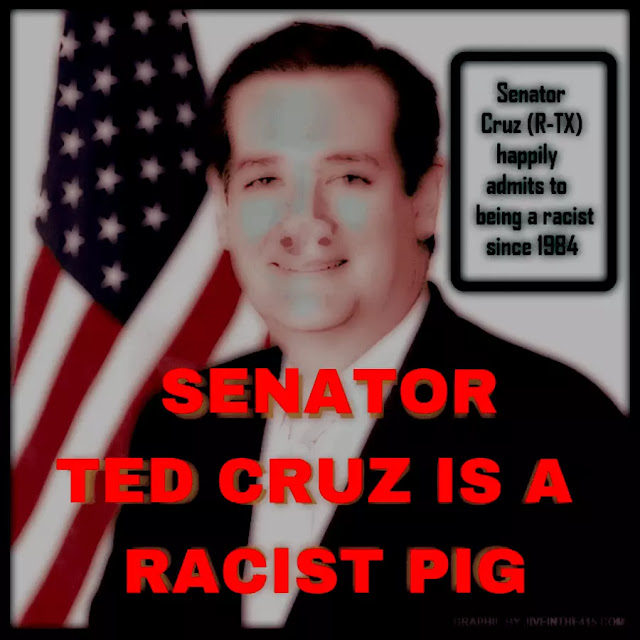 A photograph of Ted Cruz who is depicted as a racist piglet