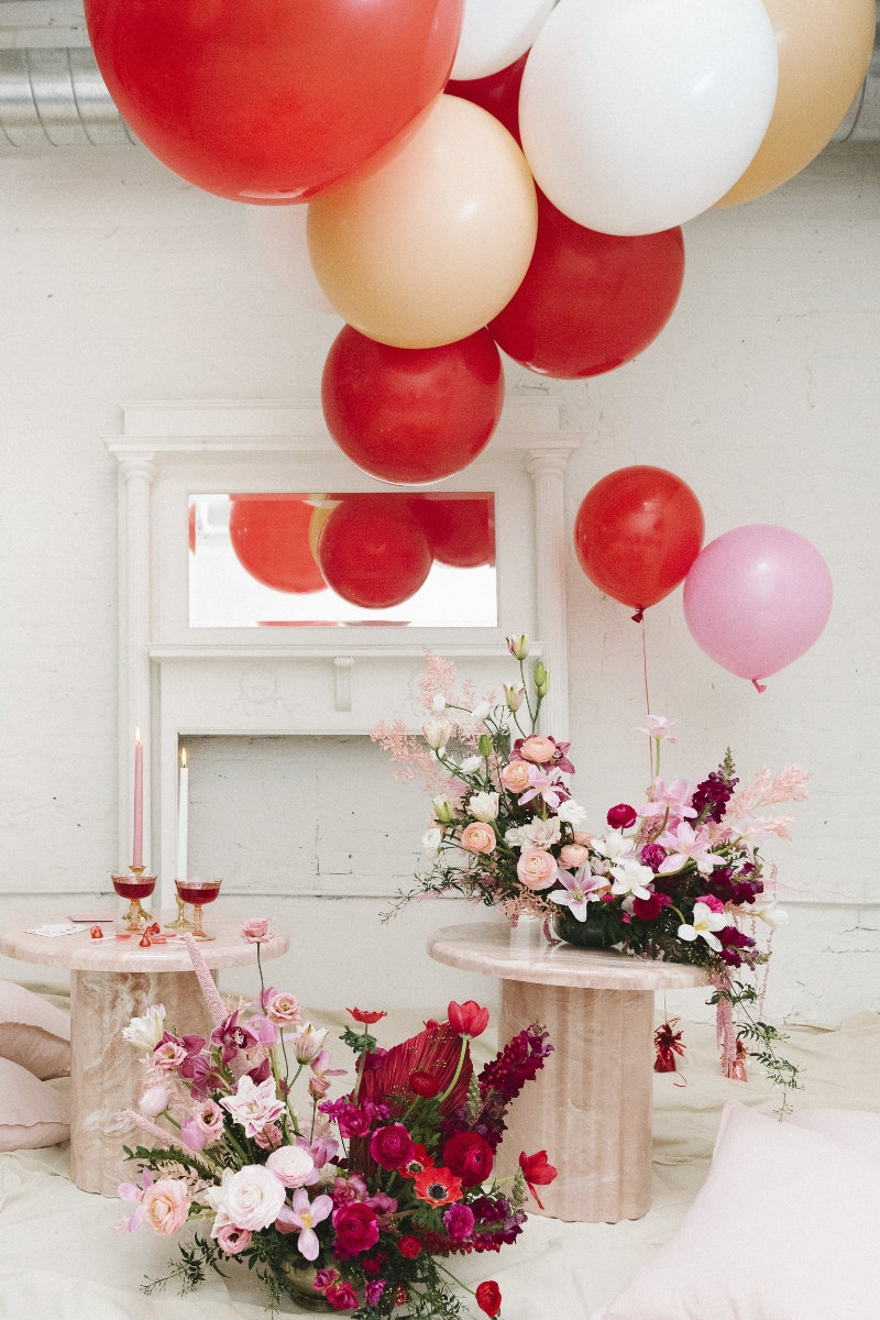 A Valentine's Day Party For Two - a stunning, creative party  to celebrate in a low-key way, for a small wedding, or bridal shower event! via @BirdsParty BirdsParty.com #valentinesday #valentinesdaywedding #wedding #pinkbridalshower #pinkwedding