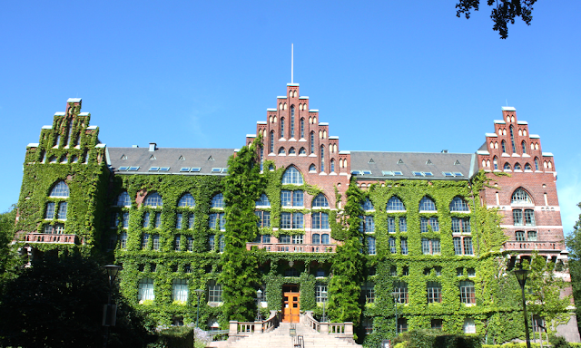 The Lund University Library is quite picturesque with the melding of ivy and brick.