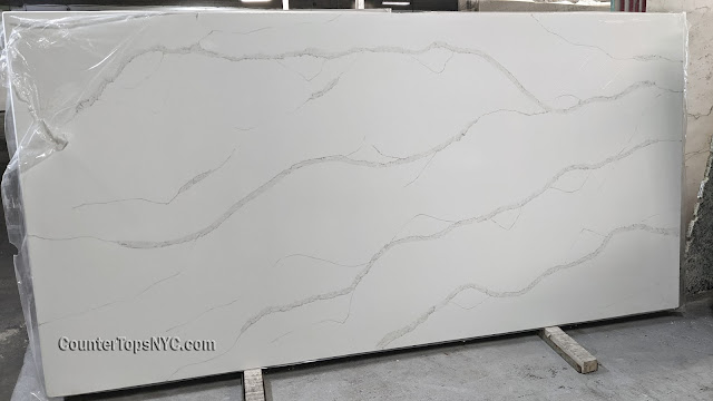 Calacatta white quartz NYC
