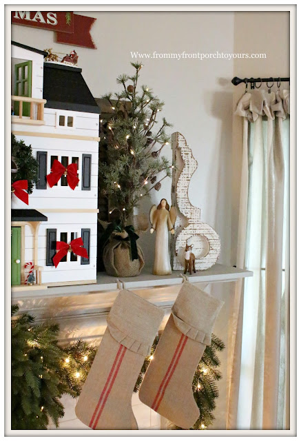 French Country Farmhouse Christmas Mantel-Angel-Balsam Hill Trees-Chippy Corbel-From My Front Porch To Yours