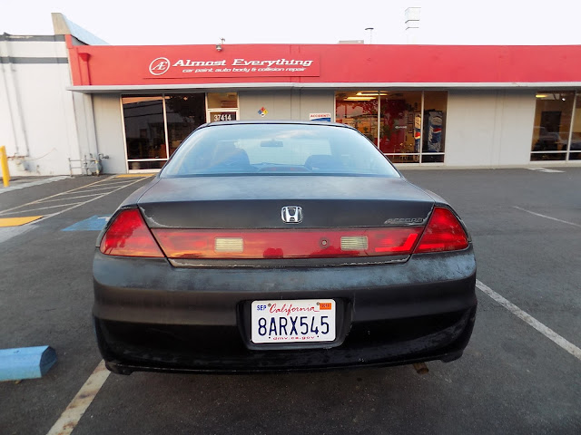 Honda Accord Coupe with faded paint before repainting at Almost Everything Auto Body.