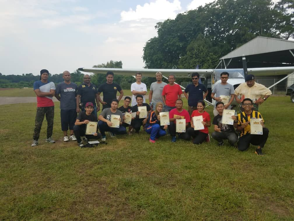 The newly licensed skydivers at Hawk Skydive Malaysia