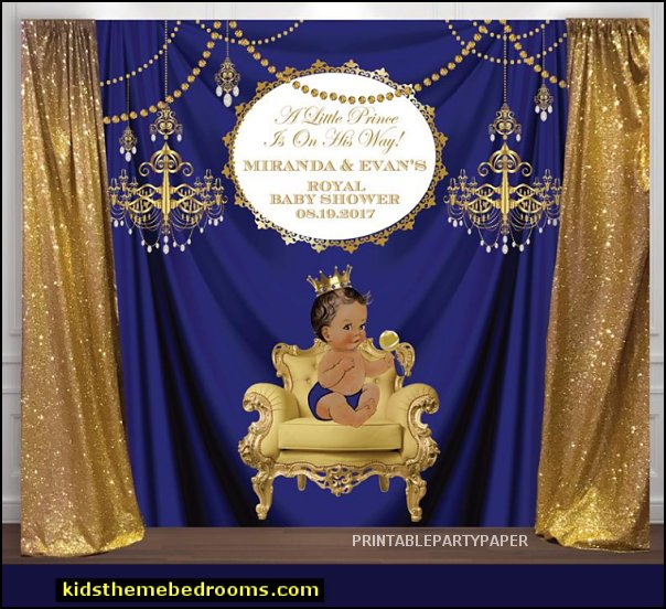 little prince party decorations gold and royal blue prince, crown, baptism, christening, birthday, baby shower backdrop  party, decor