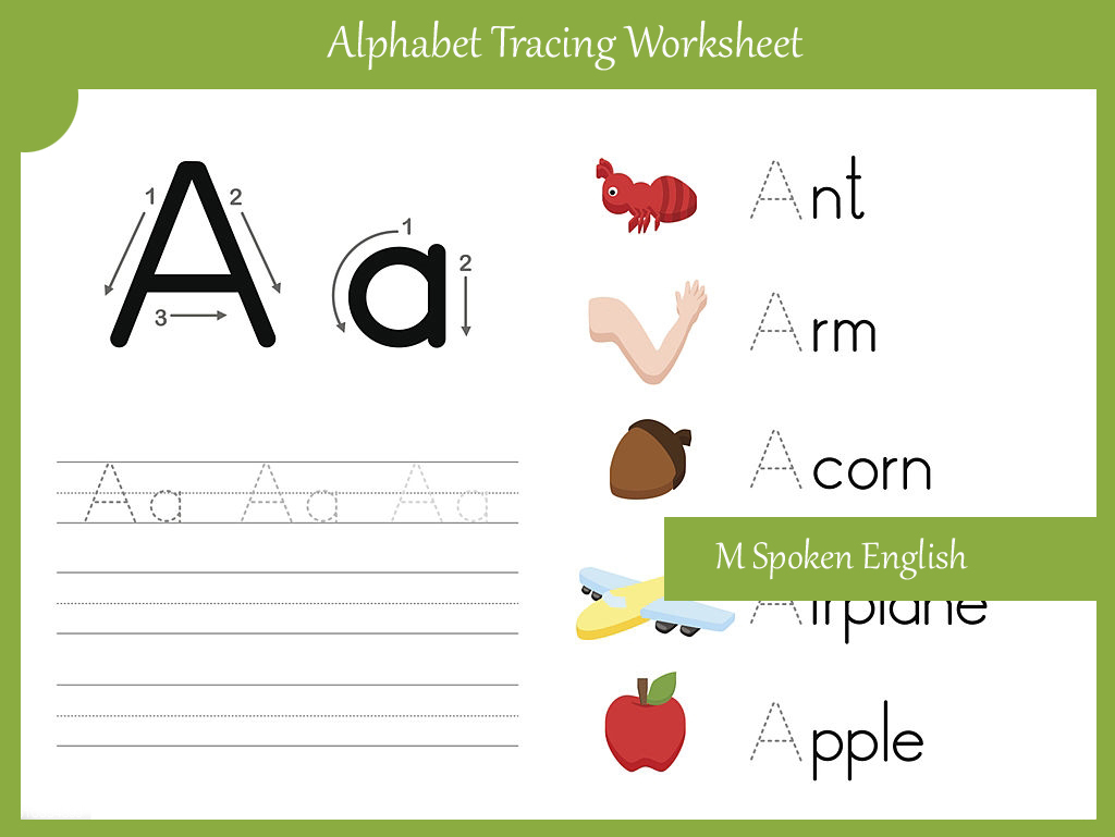 M Spoken English Alphabet Worksheet A
