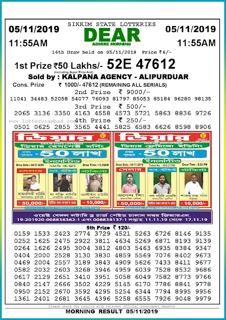 Sambad lottery 05-11-2019 Sikkim State Lottery Result 11.55 AM-lotterysambadresults.com