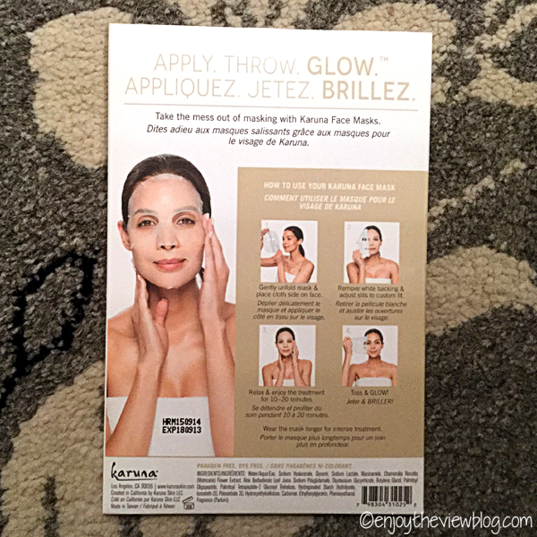 back of Karuna Hydrating+ Face Mask package