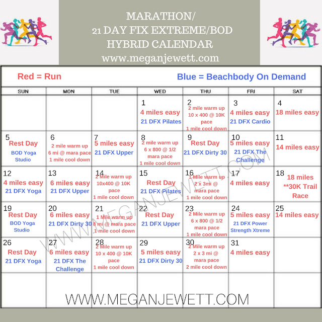 A monthly marathon training calendar with incorporated cross training