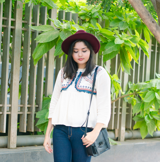 Bohemian Flowy Blouse with Fedora Hat