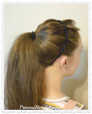 Easy 5 minute ponytail hairstyle for school with twisty braids headband.