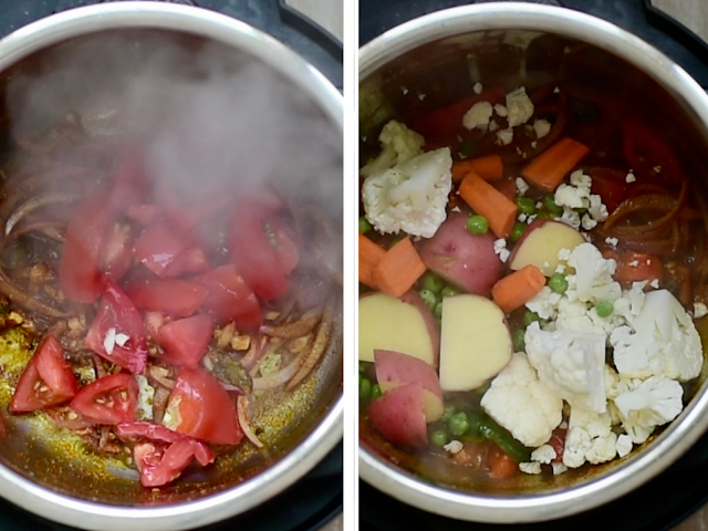 Steps to make instant pot masale bhaat- add veggies and tomatoes