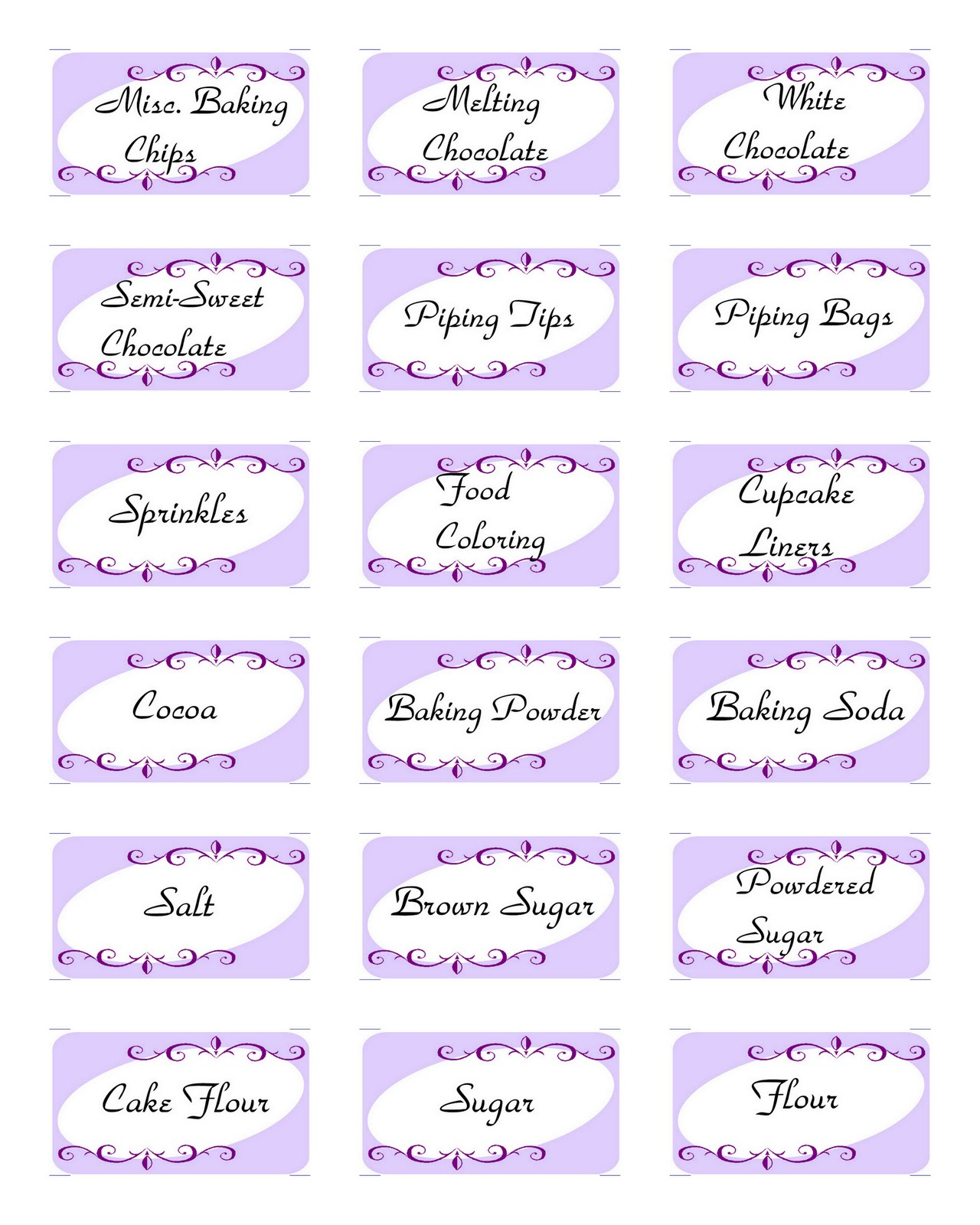 Sweets For Sami Baking Labels Free Printable