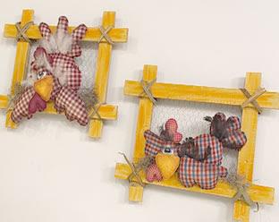 cuadros gallinas - Quadro com galinha em tecido