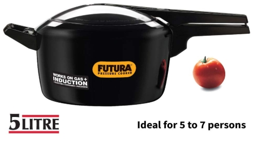 Hawkins Futura Hard Anodised Induction Compatible Pressure Cooker, 5 Litre