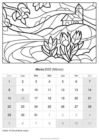 Calendario febrero 2020 para colorear de méxico