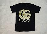 Kaos Anak Gucci dan Distro 1-8 Tahun Warna Hitam Bahan Katun Kombad