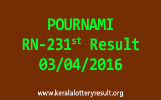 POURNAMI RN 231 Lottery Result 3-4-2016