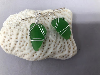 Natural Sea Glass Earrings by BayMoonDesign