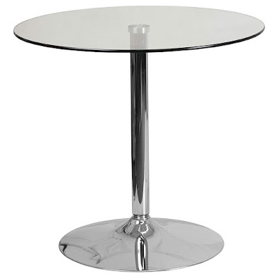 Round Glass Table with Chrome Base