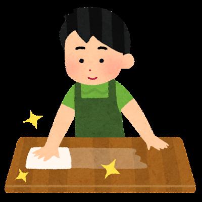 テーブルを拭く人のイラスト(男性)