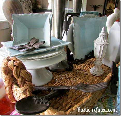 Pretty blue rustic table for spring