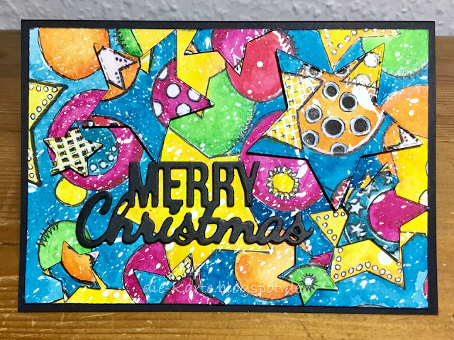 Weihnachtskarte, Mixed Media, bunt