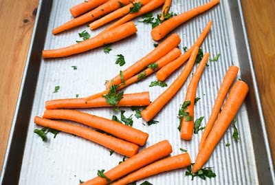 Scottish Baby Carrot & Chive Tart - step one -roasting carrots