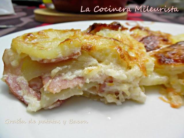 Gratén de patatas y beicon