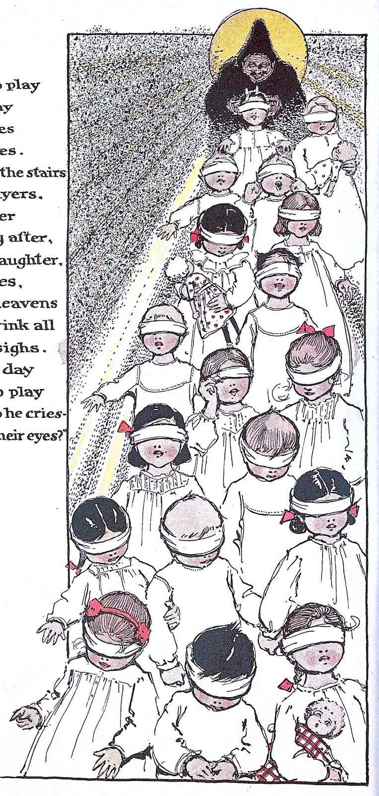 a Caroline Goodwin illustration 1901, of a blindfolded procession of children