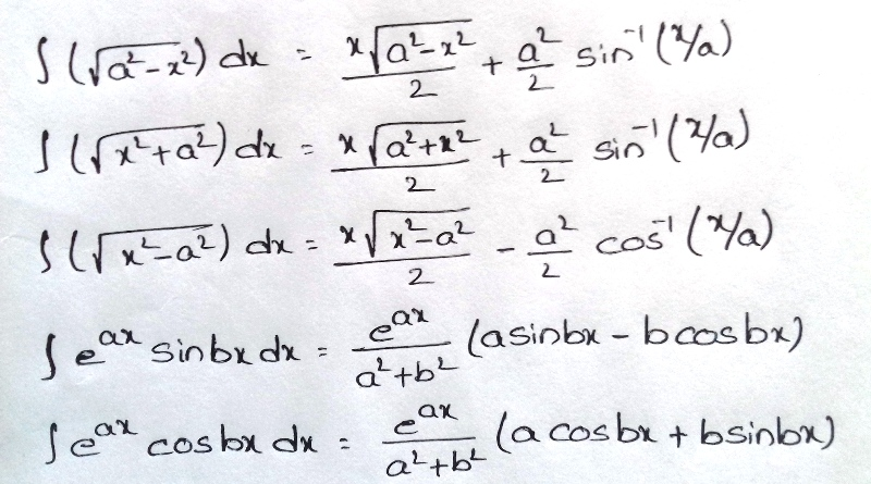 Formulas For INTEGRATION