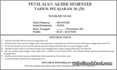 Soal PAS Ekonomi Kelas 11 SMA Tahun 2019/2020
