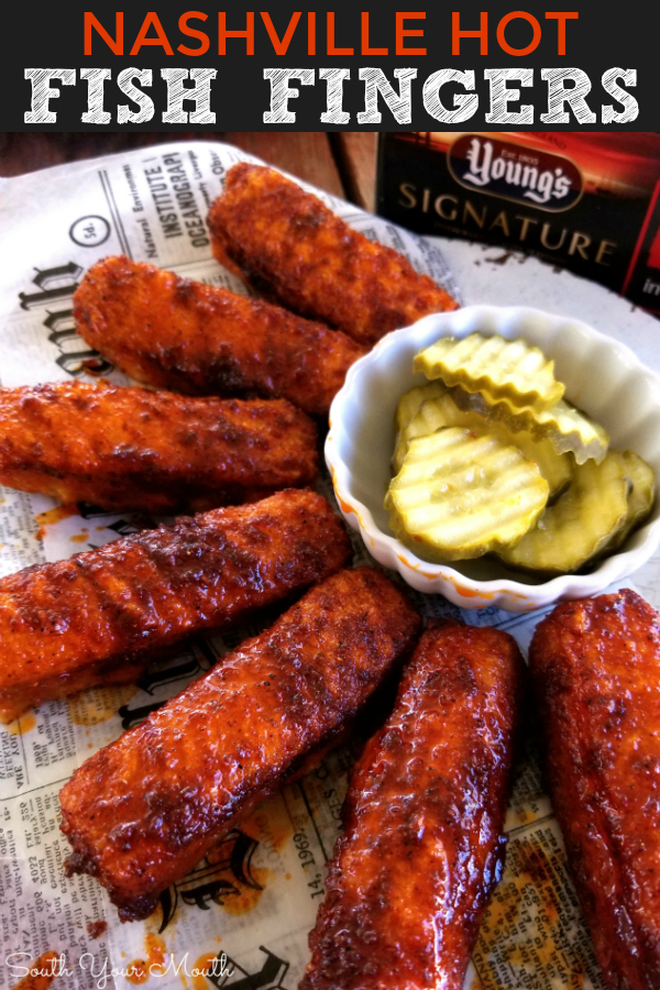 Nashville Hot Fish Fingers | A quick and easy recipe for fried fish fingers prepared the 'Nashville Hot' way, slathered in a spicy sauce then served with pickles and bread.