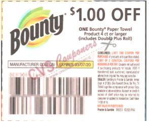 "$1/1 Bounty Coupon from ""P&G"" insert week of 2/23/20(exp 3/7)."